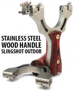 Stainless Steel Wood Grip Slingshot | Lastik