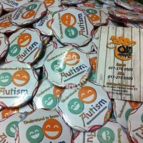 Tempahan Button Badge Design Event Autism