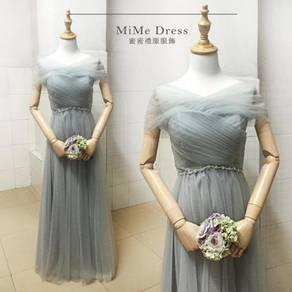 Grey wedding bridal bridesmaid prom dress RBBD0034