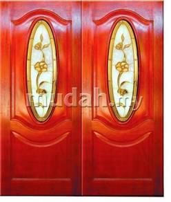 Pintu besar kayu solid bersama cermin