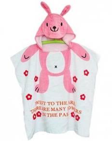 (KT 05)Cartoon Kids Bath Towels - Pink Rabbit