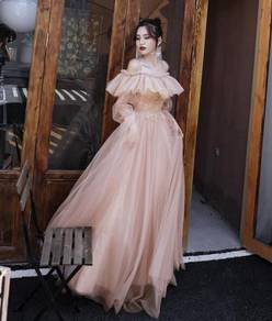 Nude long sleeve wedding evening prom gown RBP1125
