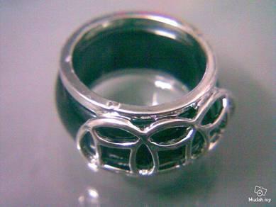 ABRSJ-B004 Black Jade Mosaic Silver Metal Ring S9