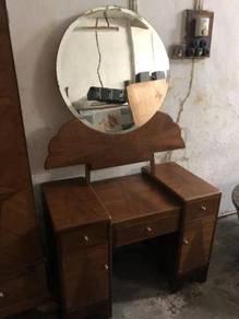 Antique teak wood marquetry wardrobe dressing tabl