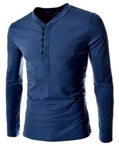 J0562 T-Shirt Lengan Panjang Biru Stylish Button