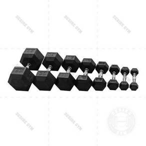 Hexagon rubber coated dumbbell