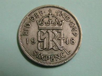 Great Britain -George VI six Pence 1948