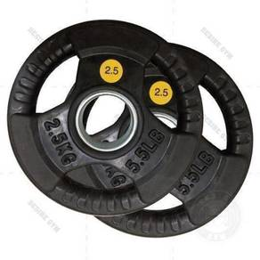 Rubber coated olympic weight plate