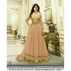 Nirmala maxi long sleeve Muslimah dress black pink
