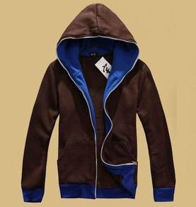 0343 Sweater Hooded Colorful Zipper Brown Jacket