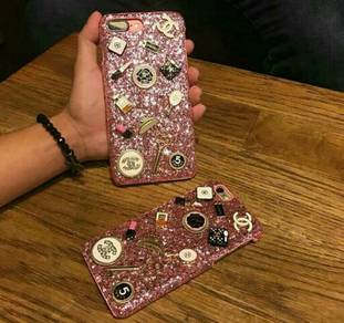 Chanel glitter pink iphone cases