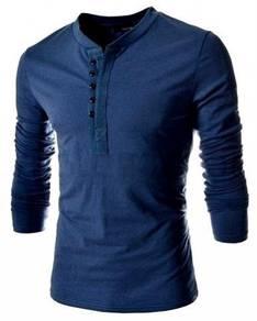 J0562 Stylish Blue Men T-Shirt Lengan Panjang Biru