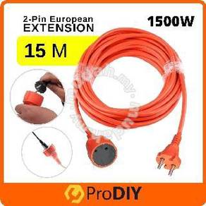 15M 2-Pin Plug Extension Cord Europe European Euro