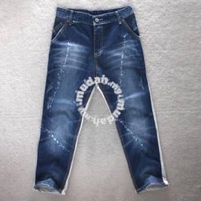 WA009 Mixed Jeans + Track Denim Slim-Fit 3/4 Pants