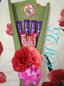 Bouquet bunga dan coklat