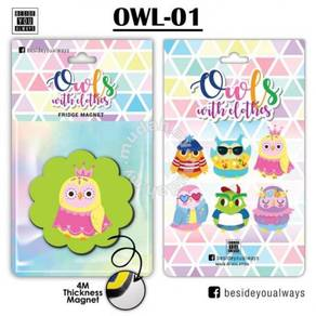 6 Designs Of Cute Owl Fridge Magnet 4M Thickness