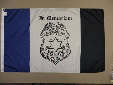 Chicago Police Department Mourning Badge Flag