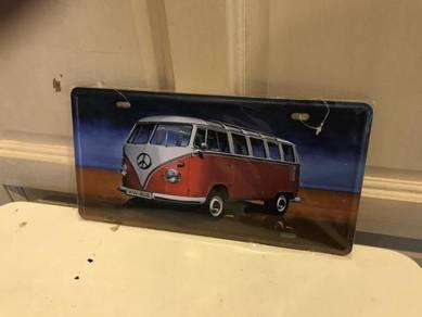 Vintage Volkswagen Bus metal plate