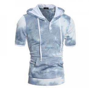 6403 Sleeve Washed Color Hooded Hedging Sweater