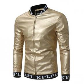 8862 Standing Collar Leather Jacket