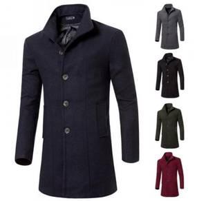 6361 Korean Men's Long Section Woolen Coat Jacket