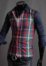 S1234 Check Plaid Blue Green Red Long Sleeve Shirt