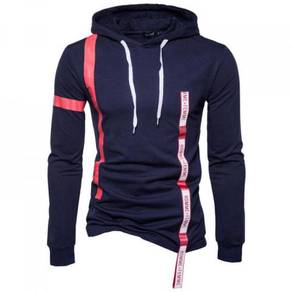 8592 Ribbon Straps Stitching Hooded Sweater