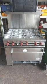 Open burner 6 ways with oven stainless steel