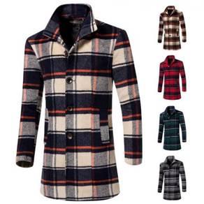 6358 Korean Stand Collar Woolen Coat