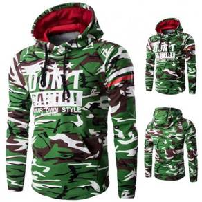 6131 Camouflage Letters Printed Sweater Jacket