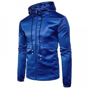 8886 Hooded Stylish Simple Color Zipper Jacket