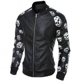 5048 Men Skull Stitching PU Leather Coat Jacket