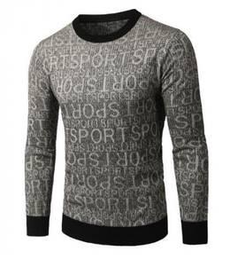 6432 Neck Knit SPORT Letter Long Sleeved Sweater