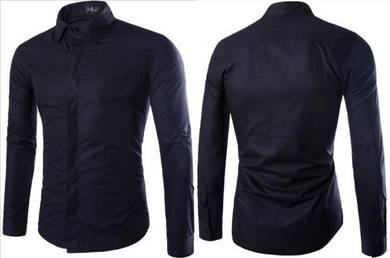 0530A Button Cover Black Formal Long Sleeved Shirt