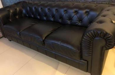 Sofa Leather Chesterfield Black