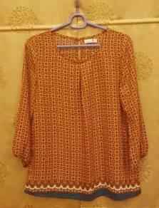 Zashka Orange Abstract Blouse