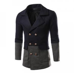 6405 Fit Woolen Combined Color Long Sleeved Coat