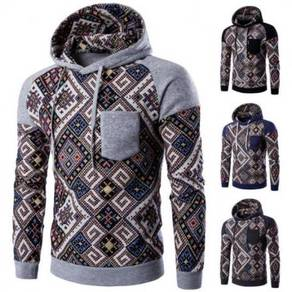 6364 Wind Hit Color Pocket Casual Hooded Sweater