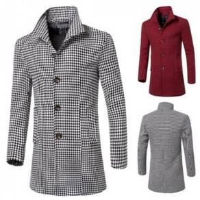 6357 Collar Long Sections Slim Fit Woolen Coat