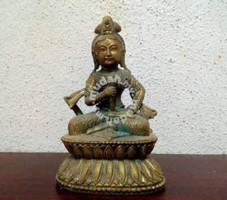 Goddess holding lotus Brass Statue