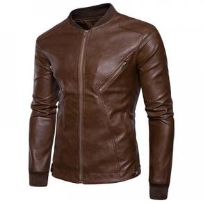 8891 Oblique Zipper Pocket Leather Jacket