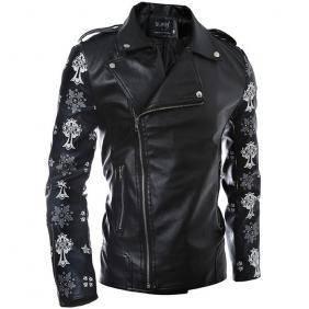 5049 Large Lapel Oblique Zipper PU Leather Jacket