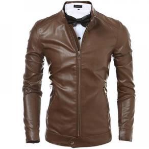 6497 Leisure Slim Fit Zipper Leather Coat Jacket