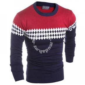 6472 Rhombus Mixed Color Long-Sleeved Sweater