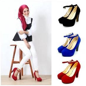 Suede Ankle Strap Flatform Heels