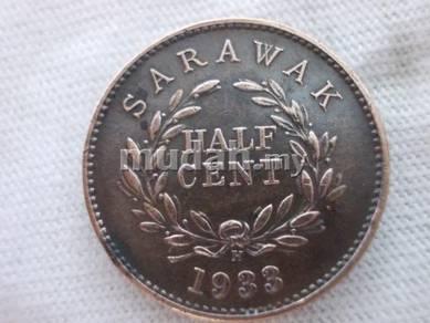 Old Sarawak 1933 half cent coin