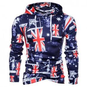 8449 Flag Design Printed Casual Hoodie Sweater