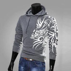 5065 Dragon Printing Men's Hooded Sweater Coat