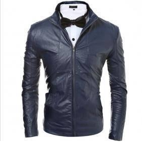 5053 Simple Stylish Slim Fit PU Leather Jacket