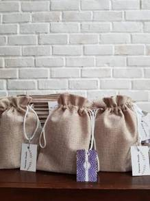Burlap jute goodie bags with nylon string